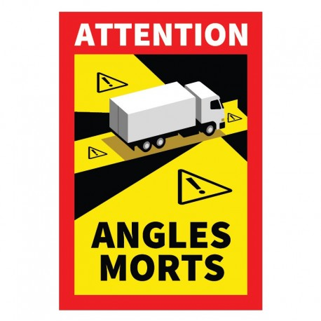 Autocollant Attention Angles morts pour camion